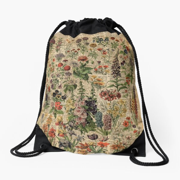 Colourful Wild Meadow Flowers Over Vintage Dictionary Book Page Drawstring Bag