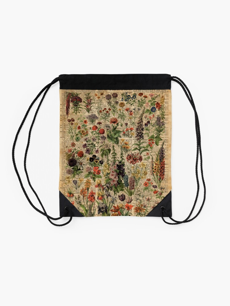 Alternate view of Colourful Wild Meadow Flowers Over Vintage Dictionary Book Page Drawstring Bag