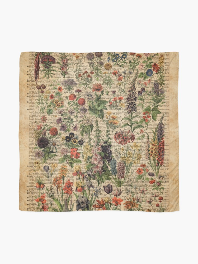 Alternate view of Colourful Wild Meadow Flowers Over Vintage Dictionary Book Page Scarf