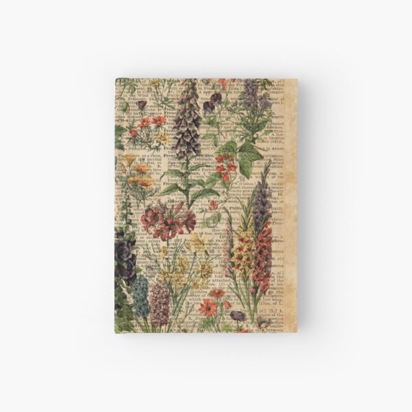 Colourful Wild Meadow Flowers Over Vintage Dictionary Book Page Hardcover Journal