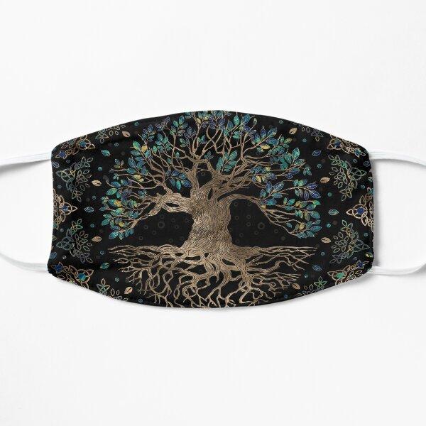 Árbol de la vida -Yggdrasil Adorno dorado y mármol Mascarilla plana