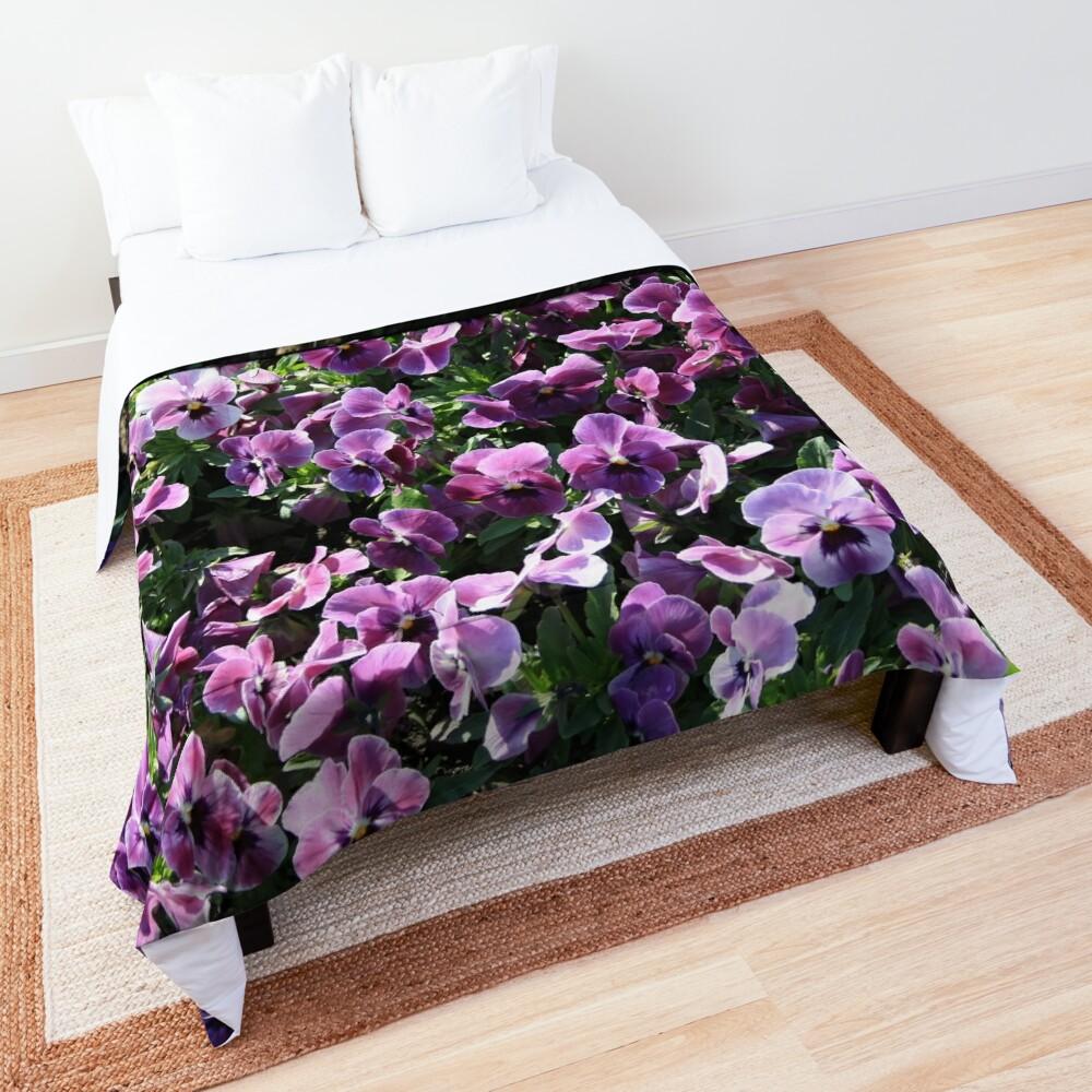 Purple Romantic Flowers Comforter