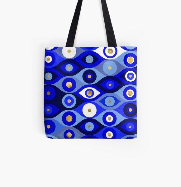 Greek Mati Mataki - Matiasma Evil Eye blues All Over Print Tote Bag