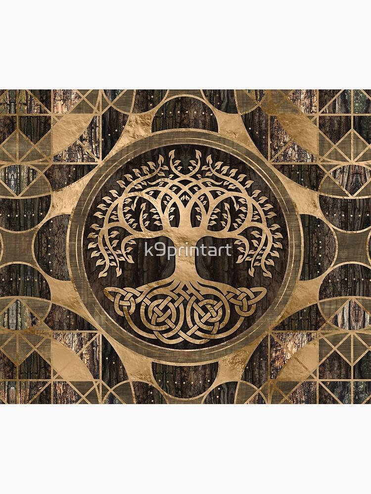 Tree of life -Yggdrasil - Wood Bark and Gold by k9printart