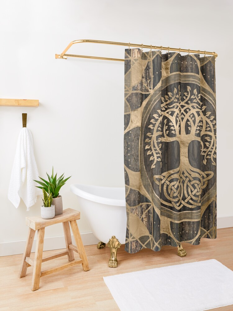 Alternate view of Tree of life -Yggdrasil - Wood Bark and Gold Shower Curtain