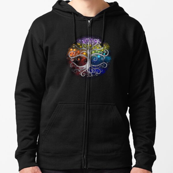 Tree of life Silver Swirl  Zipped Hoodie