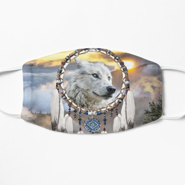 Wolf, Bear and Dream Catcher Flat Mask