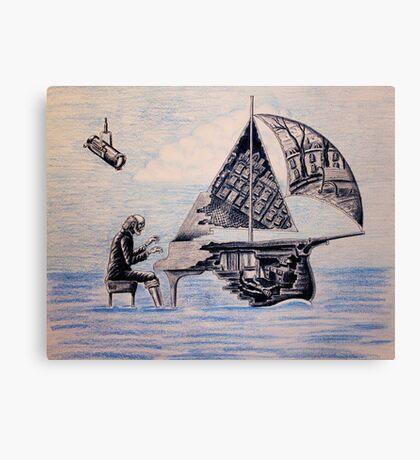 Pianist surreal pen, ink, color pencil drawing Canvas Print