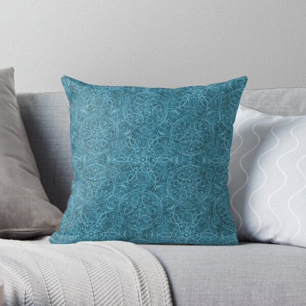 Moroccan Teal Green Textured Pattern Throw Pillow