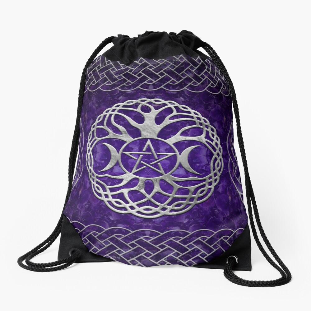 Triple Goddess with pentagram and tree of life Drawstring Bag