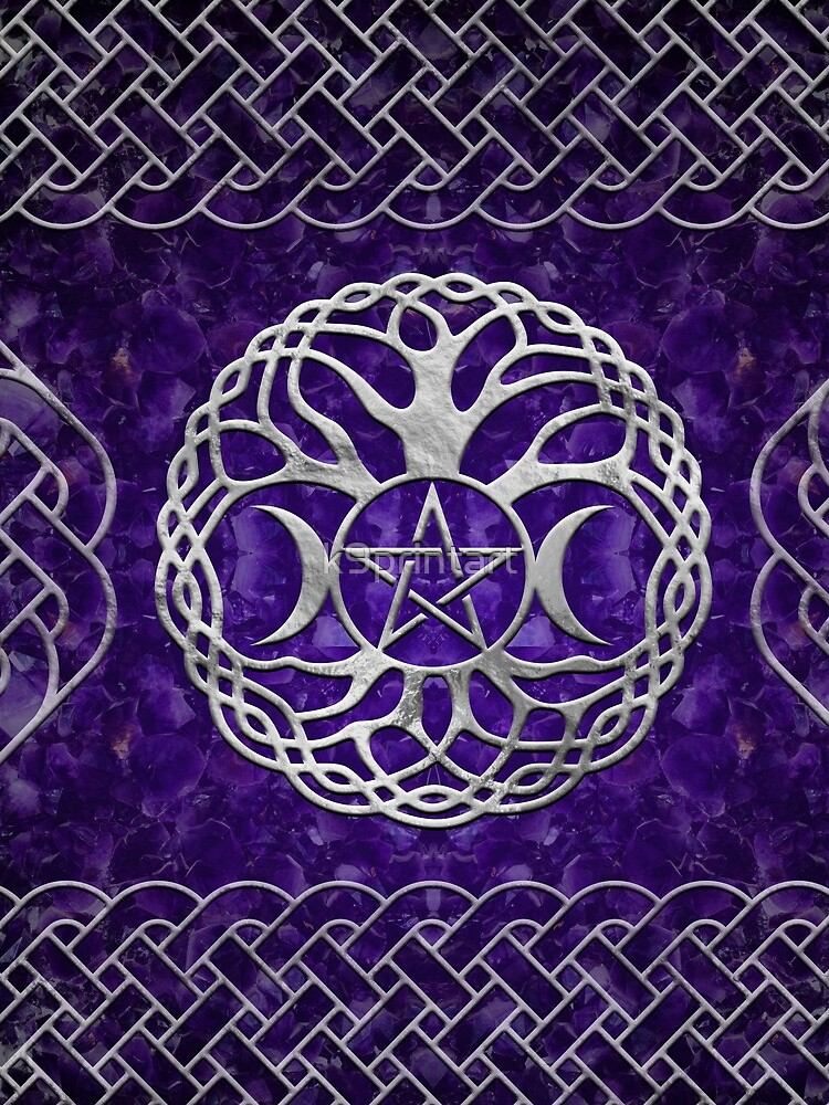 Triple Goddess with pentagram and tree of life by k9printart