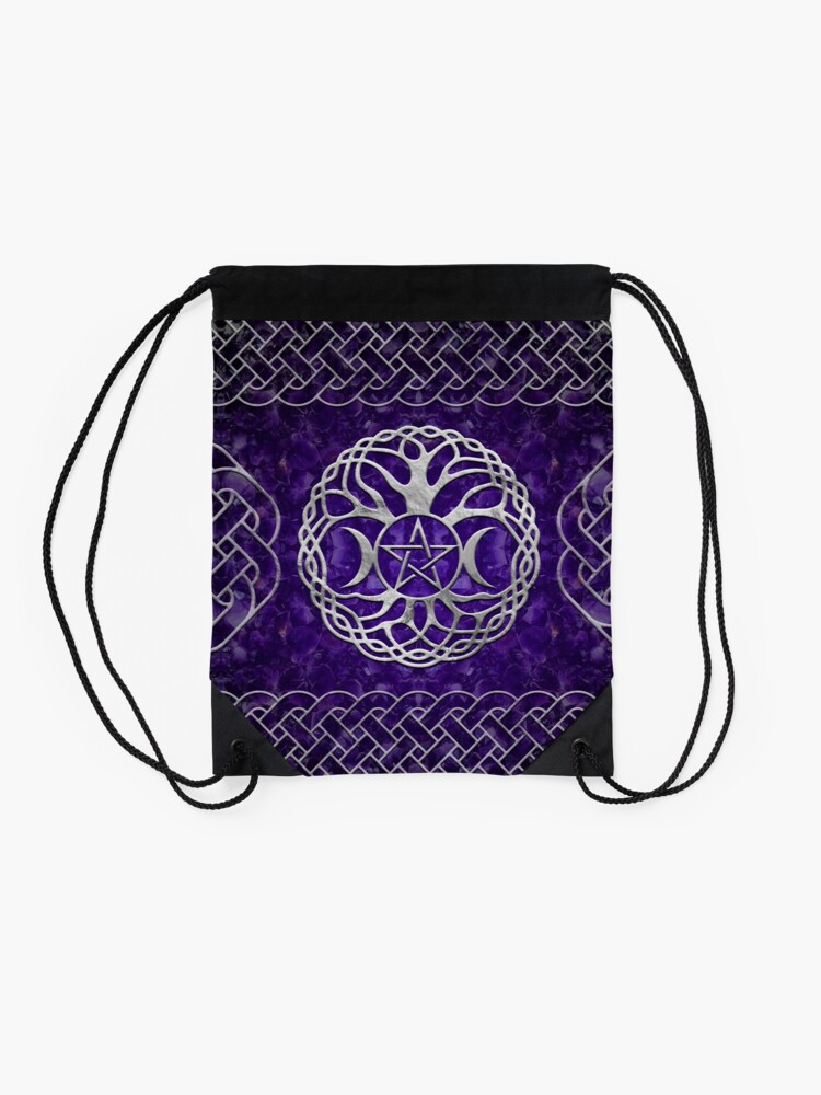 Alternate view of Triple Goddess with pentagram and tree of life Drawstring Bag