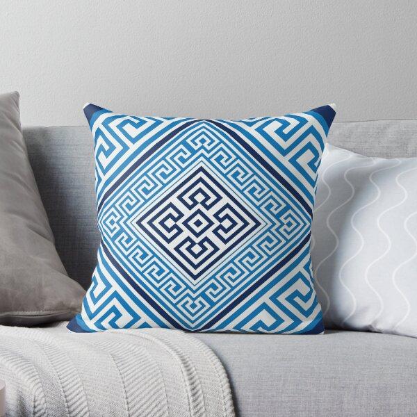 Greek Key Ornament - Santorini -Rhombus #2 Throw Pillow