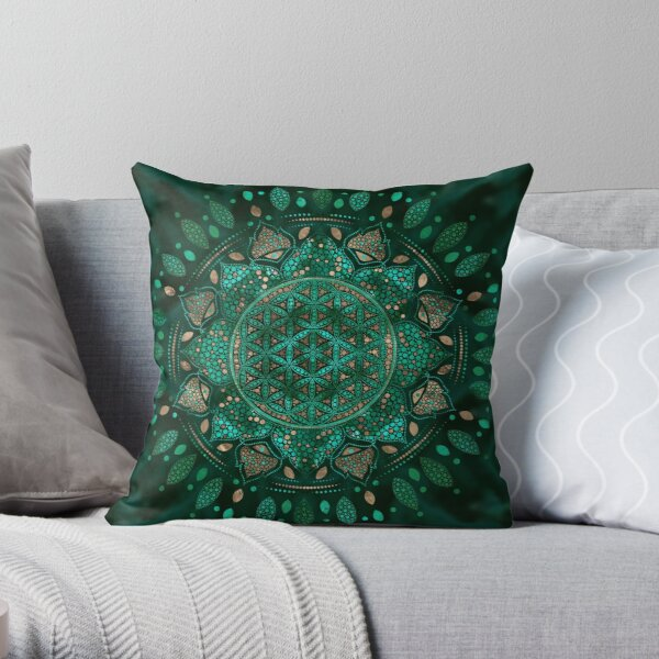 Flower of Life Dot Art malachite gold Throw Pillow