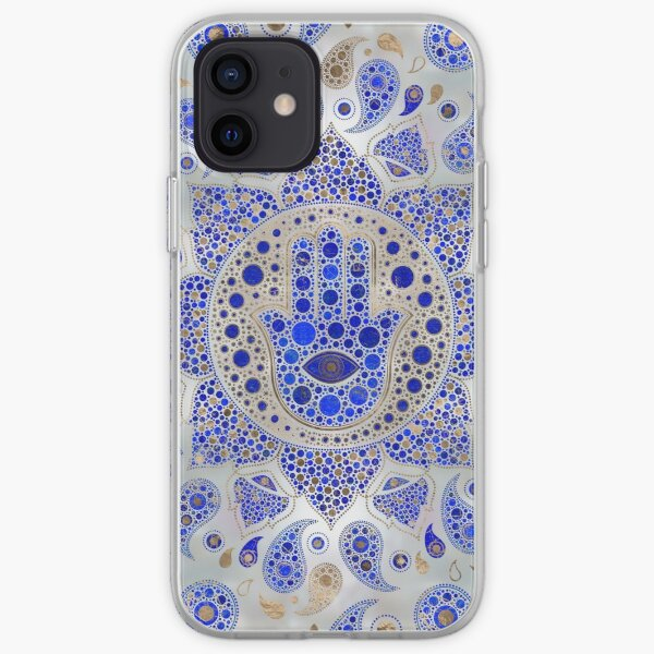 Hamsa Hand -Hand of Fatima Dot Art On Mother of pearl iPhone Soft Case