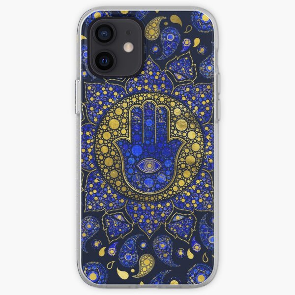 Hamsa Hand -Hand of Fatima Dot Art Lapis Lazuli and gold iPhone Soft Case
