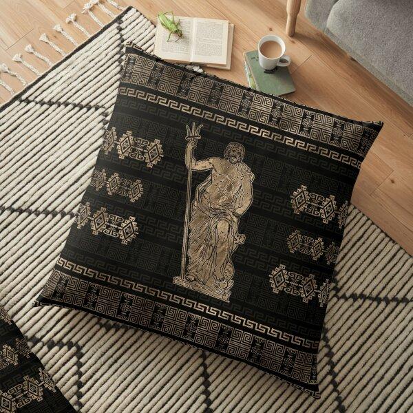 Poseidon and Greek Meander Ornament Floor Pillow