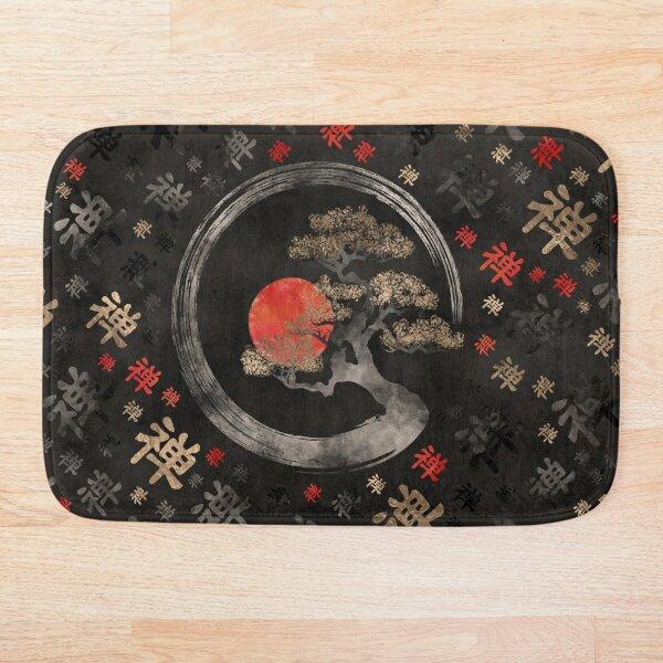 Enso Circle Bonsai Tree on Zen Symbol pattern on black Bath Mat