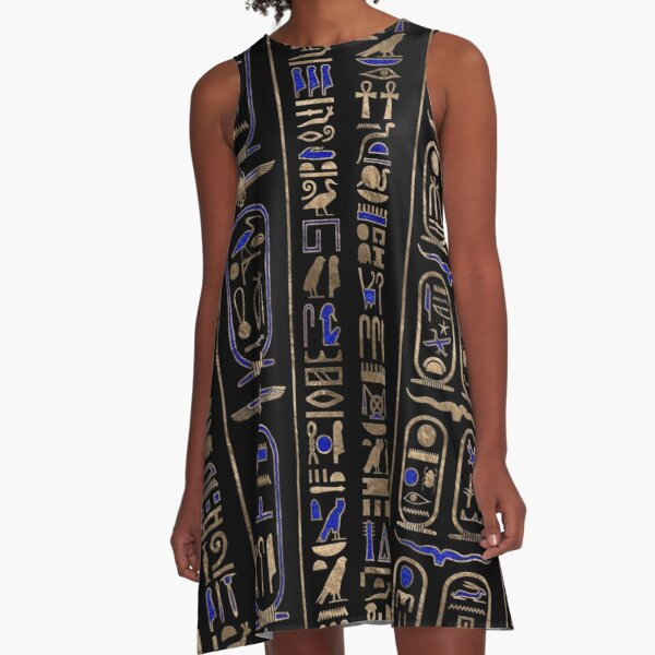Egyptian hieroglyphs pattern Gold Lapis Lazuli #2 A-Line Dress