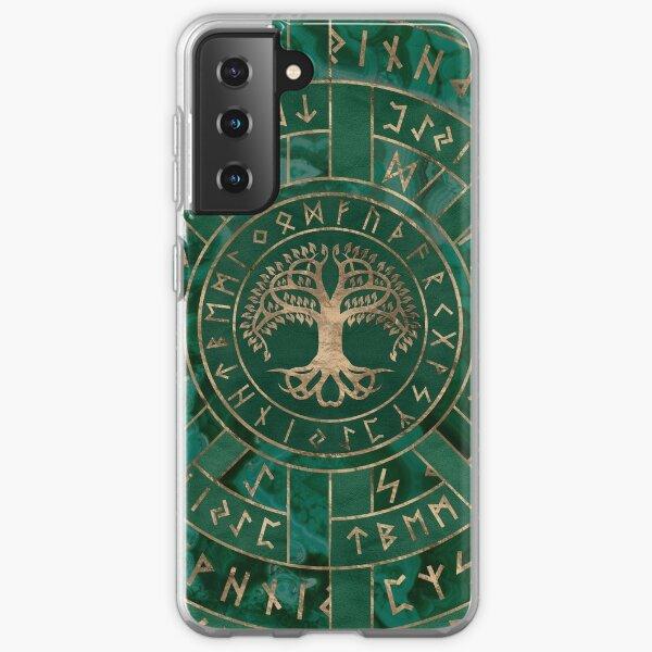 Tree of life -Yggdrasil and Futhark - Malachite Samsung Galaxy Soft Case