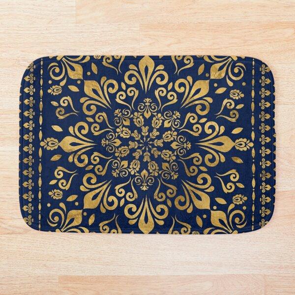 Oriental Damask Ornament - Gold on dark blue #3 Bath Mat