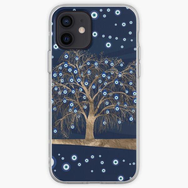 Nazar Charm Tree - Gold on Dark Blue iPhone Soft Case