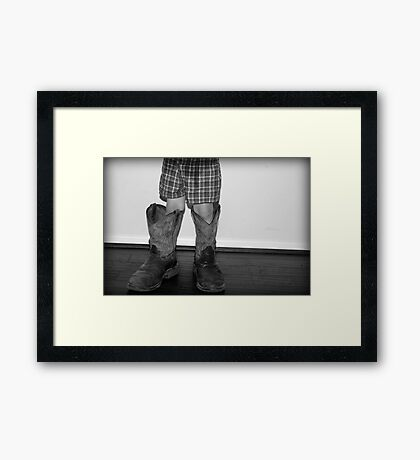In daddy's shoes... Framed Print