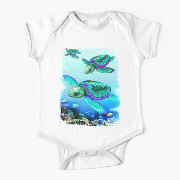 Sea Turtles Dance  Short Sleeve Baby One-Piece