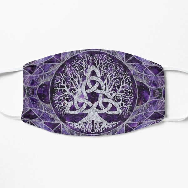 Tree of life with Triquetra Amethyst and silver Flat Mask