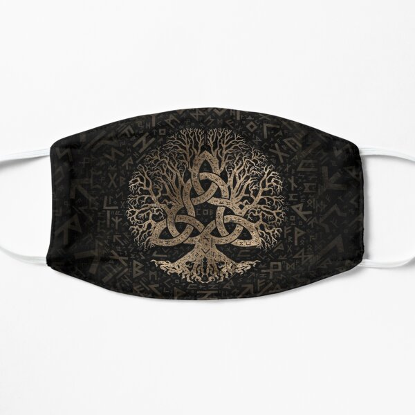 Tree of life with Triquetra on Futhark pattern Flat Mask