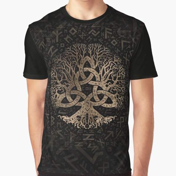 Tree of life with Triquetra on Futhark pattern Graphic T-Shirt