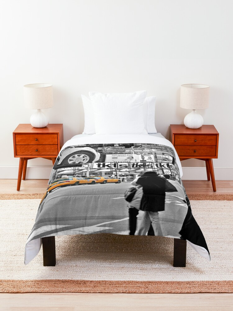 Alternate view of NYC Yellow Cabs Times Square Comforter