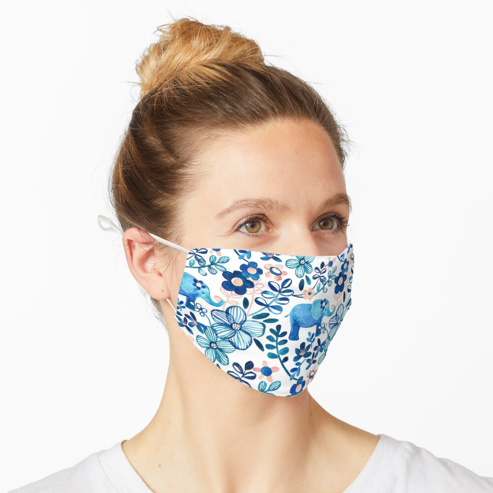 Blush Pink, White and Blue Elephant and Floral Watercolor Pattern Mask