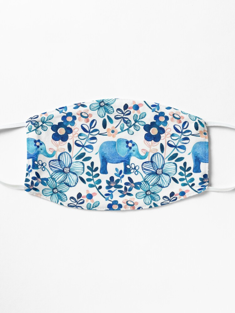 Alternate view of Blush Pink, White and Blue Elephant and Floral Watercolor Pattern Mask
