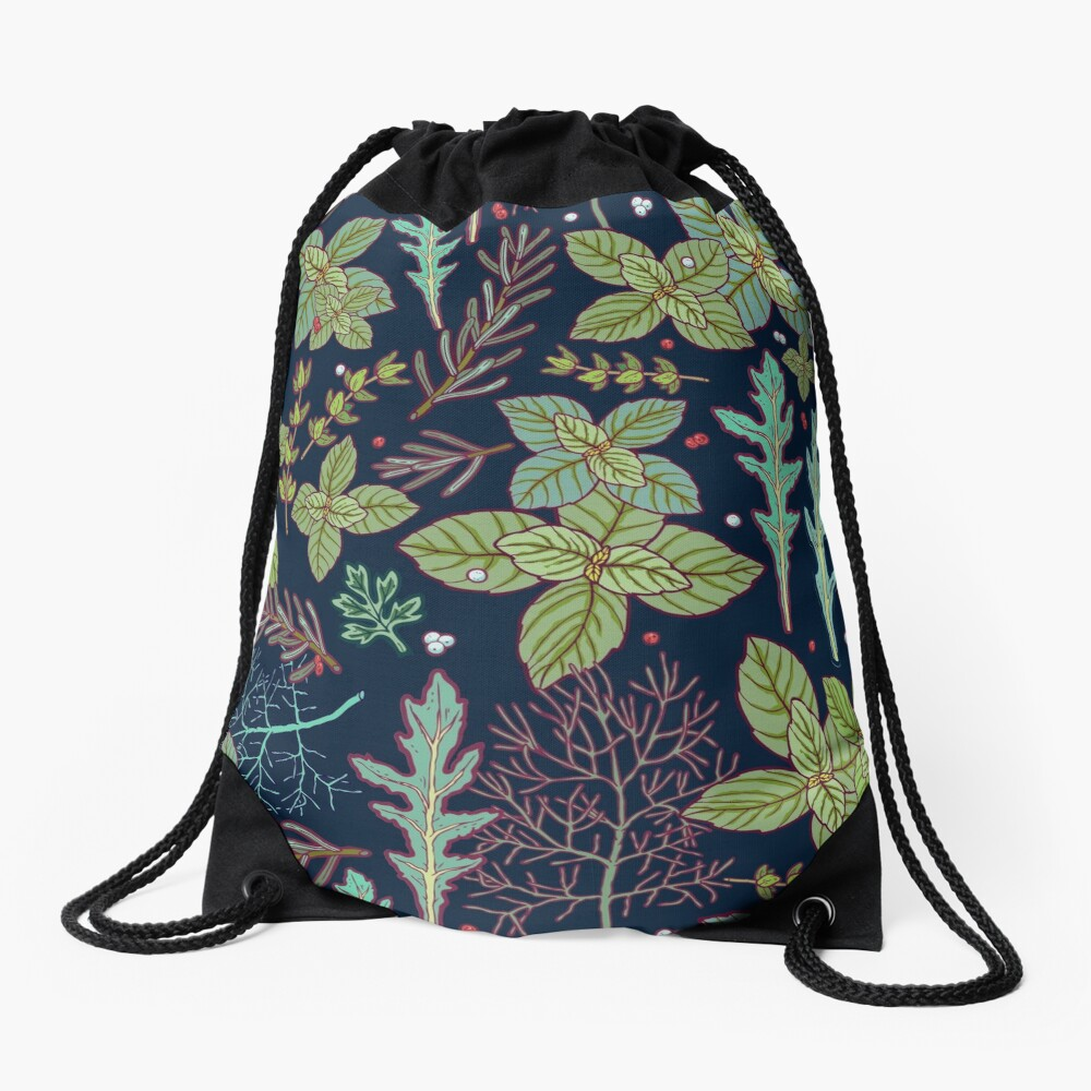 dark herbs pattern Drawstring Bag