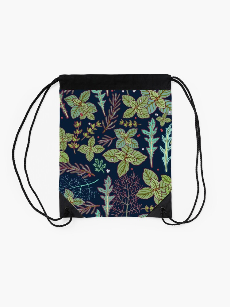 Alternate view of dark herbs pattern Drawstring Bag