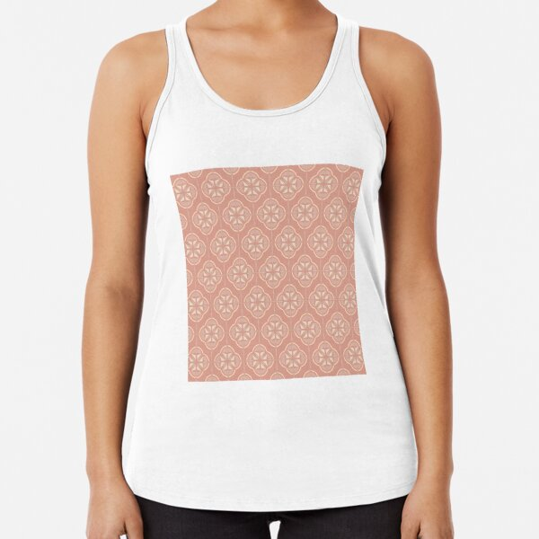 Retro Floral Geometric Tile / Blush Pink Racerback Tank Top