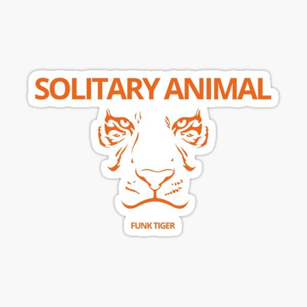 Orange Tiger Face with Solitary Animal Slogan Sticker