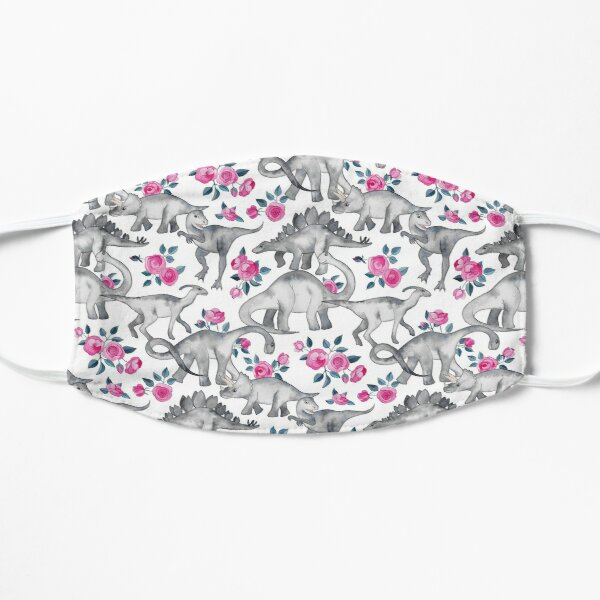 Dinosaurs and Roses – white Flat Mask