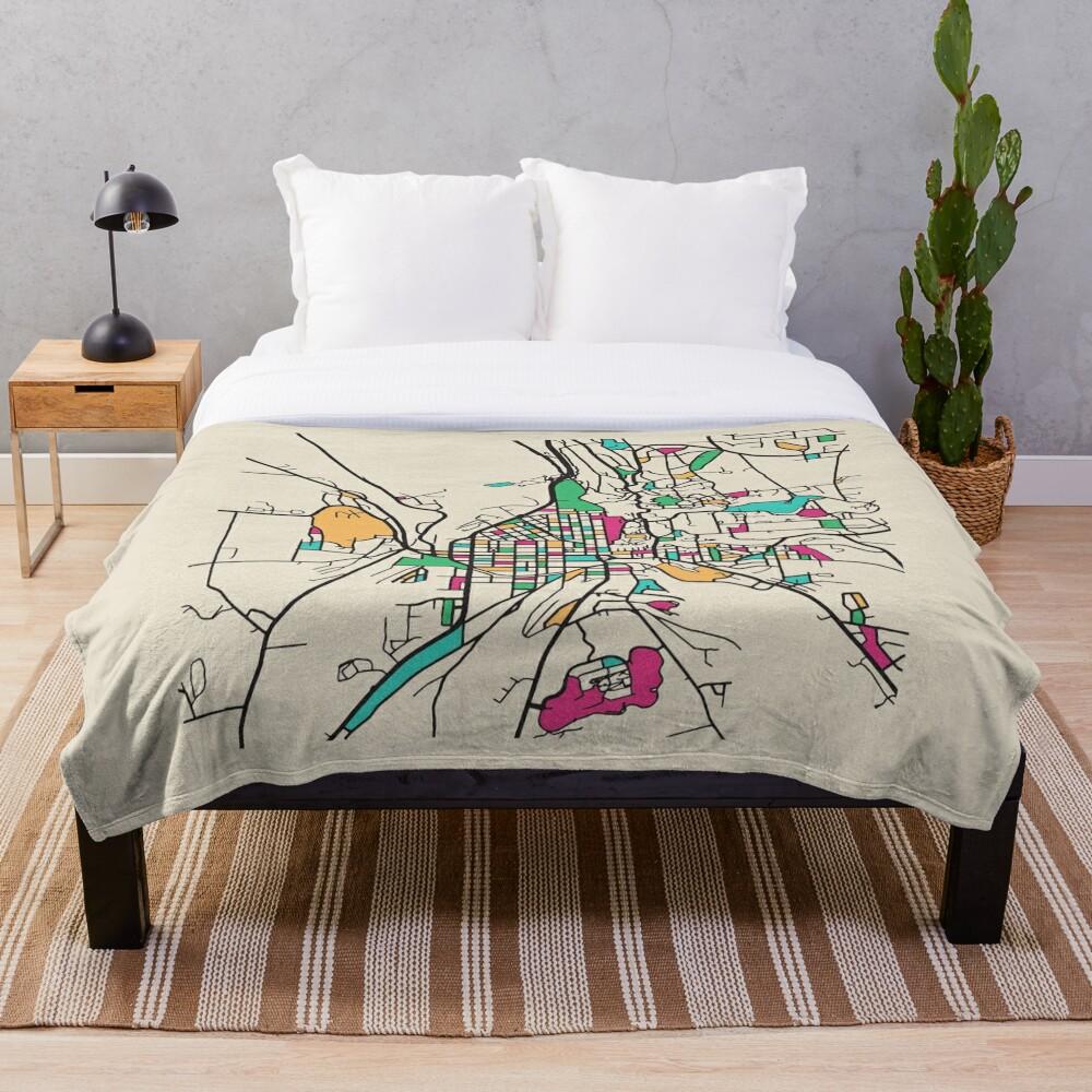 Ithaca, New York Street Map Throw Blanket