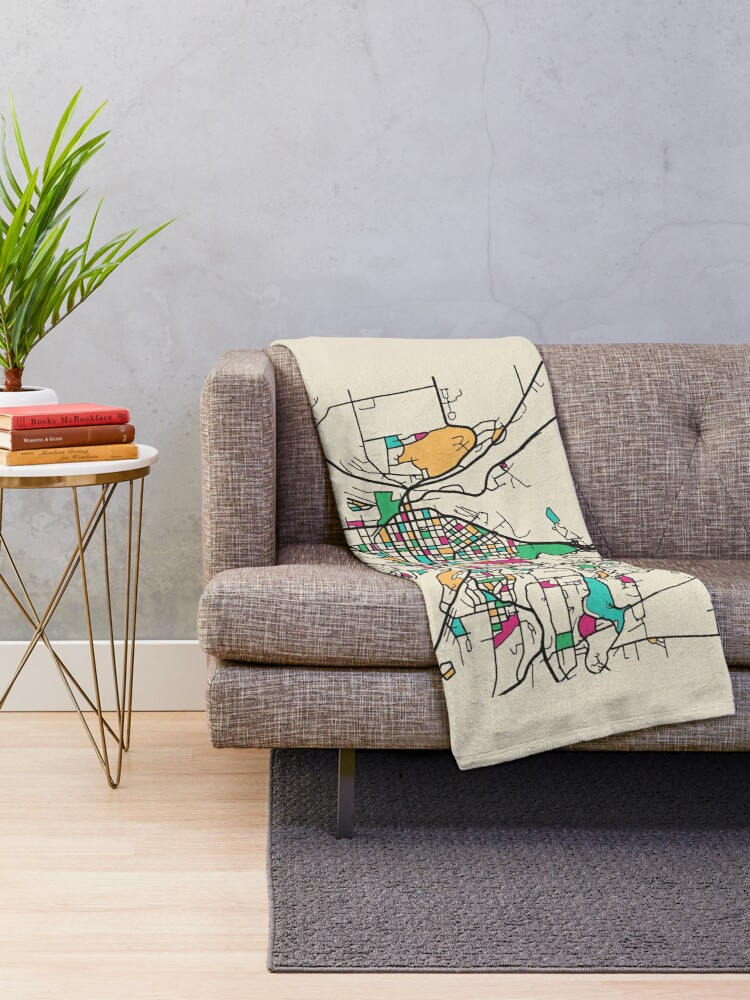 Alternate view of Ithaca, New York Street Map Throw Blanket