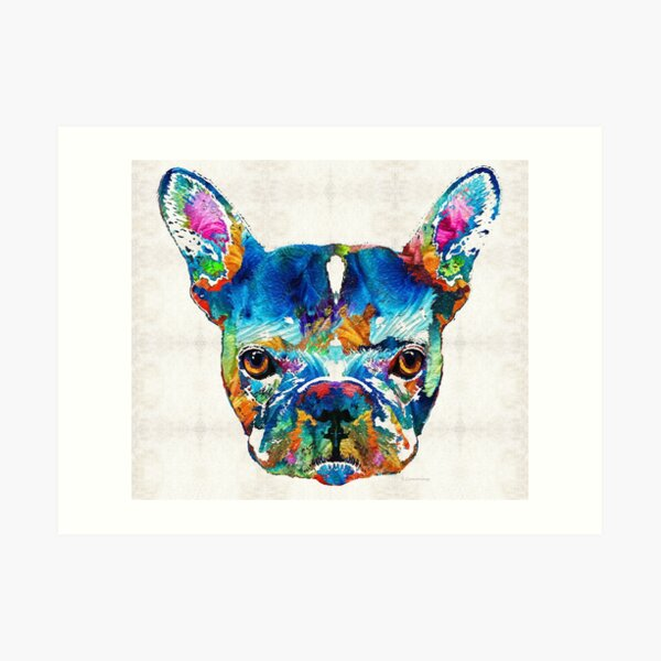 Colorful French Bulldog Dog Art By Sharon Cummings Art Print