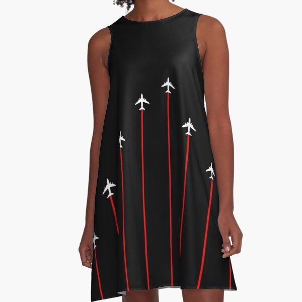 Vintage Style Retro Summer Stripes Airplanes 11 A-Line Dress