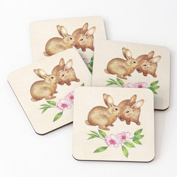 Vintage Rabbit Pair in Spring Coasters (Set of 4)