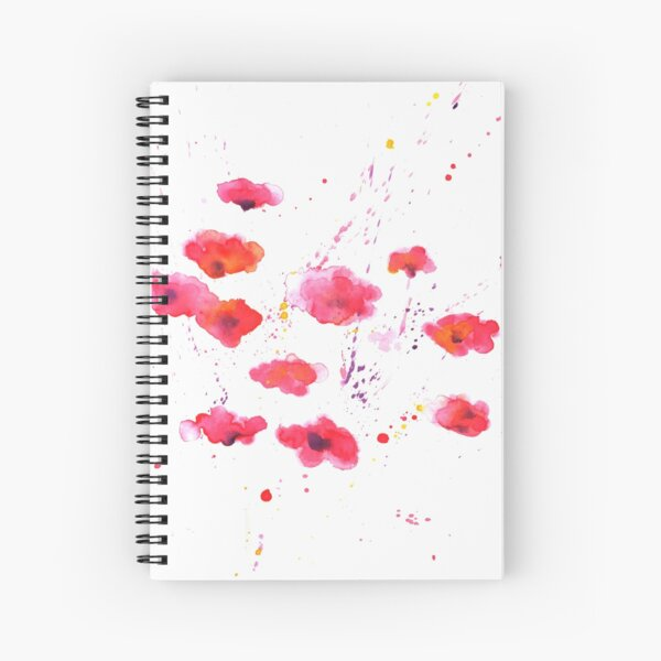 Finger Painted Poppies Spiral Notebook