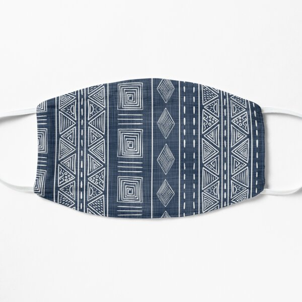 Mudcloth Navy Blue and White Vertical Tribal Pattern Mask