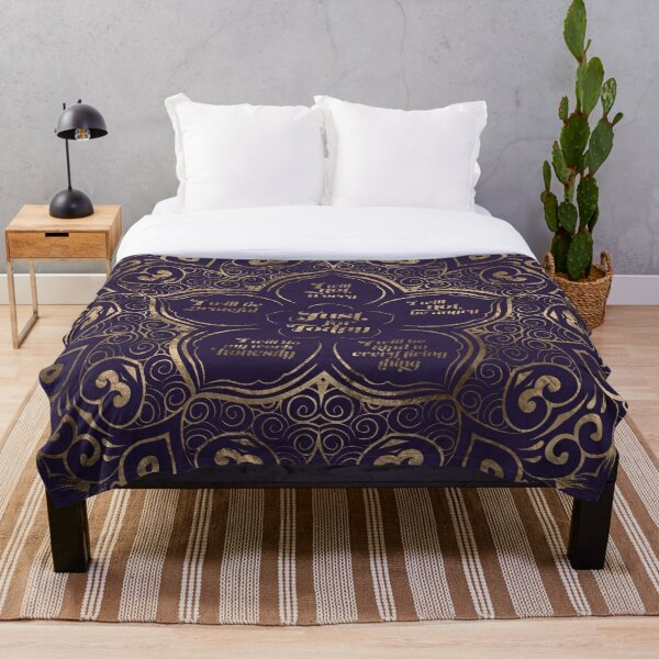 Reiki Principles - Reiki Precepts Purple and Gold Throw Blanket