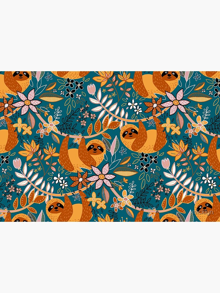 Happy Boho Sloth Floral  by micklyn