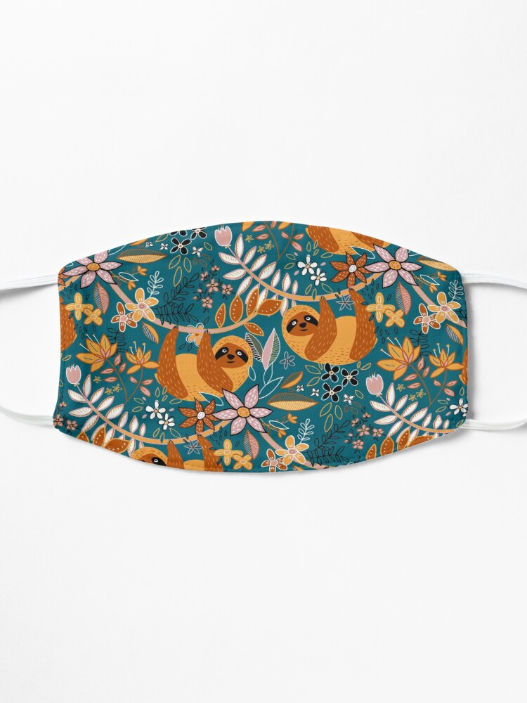 Alternate view of Happy Boho Sloth Floral  Mask