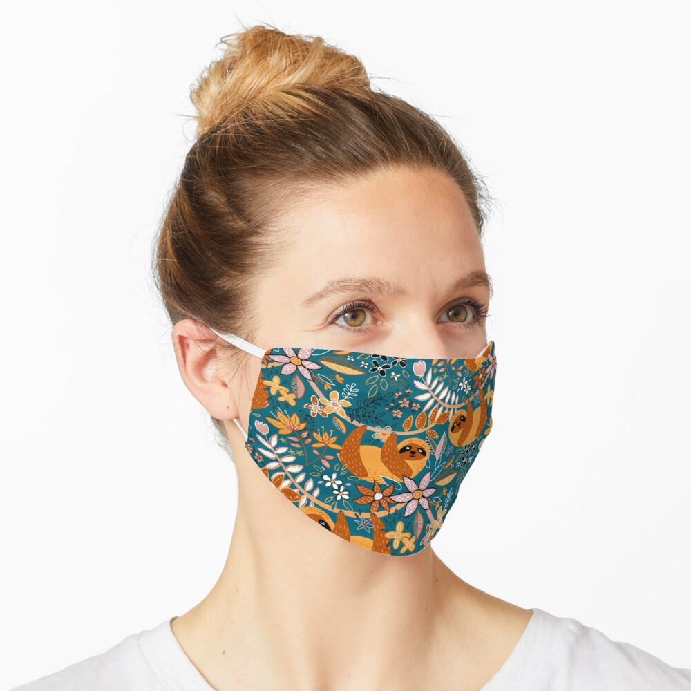 Happy Boho Sloth Floral  Mask